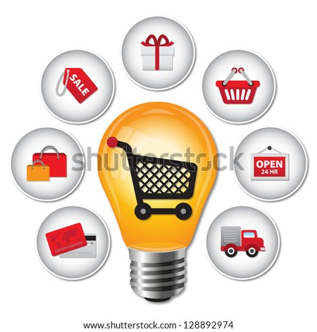 Internet and Online Shopping Concept 02 With Lightbulb and E-Commerce Icon - Isolated on White Background - stock photo