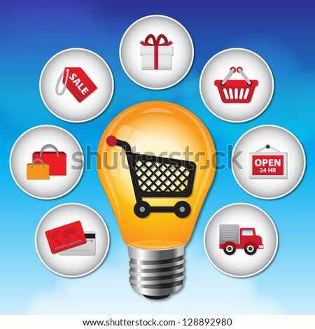 Internet and Online Shopping Concept 2 With Lightbulb and E-Commerce Icon on Blue Sky Background - stock photo