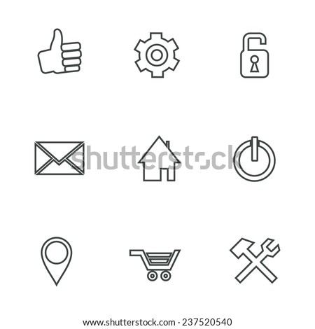 Internet and sale - design elements collection. Set of linear icons. - stock photo