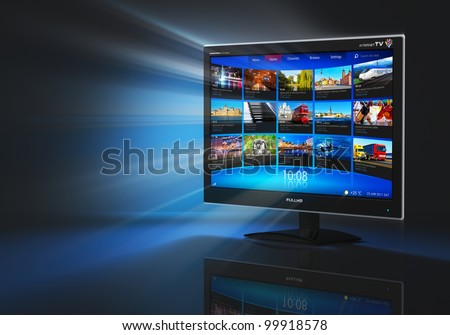 Internet and telecommunication concept: black glossy widescreen high definition tv screen with streaming video gallery on black background with reflection effect - stock photo