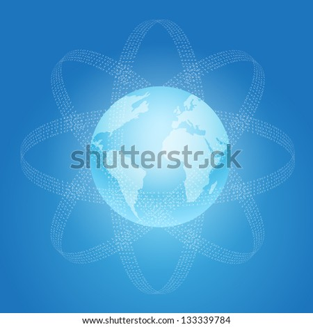 Internet and World concept symbol. Raster version of the loaded vector. - stock photo