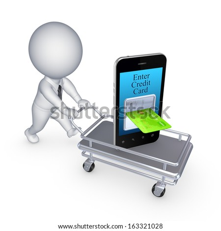 Internet banking concept.Isolated on white.3d rendered. - stock photo