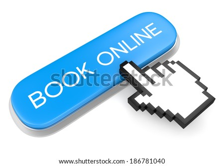 Internet booking service concept. Blue metallic button with text Book online and computer mouse hand cursor isolated on white background. - stock photo