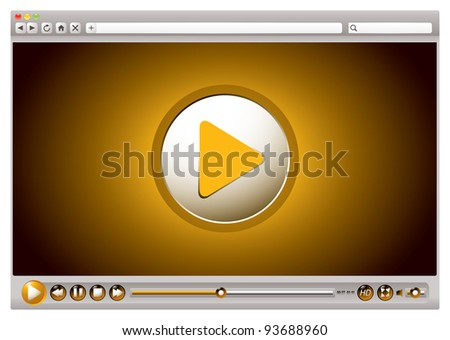 Internet browsers with video controls and play back interface - stock photo