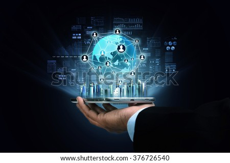 Internet business and Information technology concept. Businessman accessing and doing his business on his smart phone
