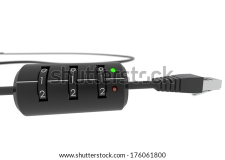 Internet cable with code lock (restricted access) - stock photo