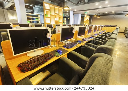 Internet cafe interior  - stock photo