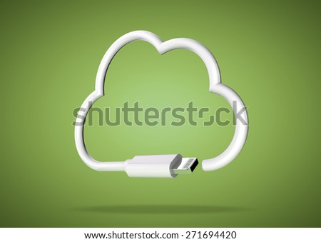 Internet cloud computing icon made from computer cable on a bright background. - stock photo