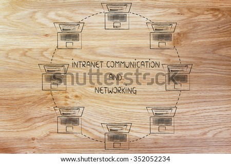 internet communication and networking: laptops connected to each other in a circle - stock photo