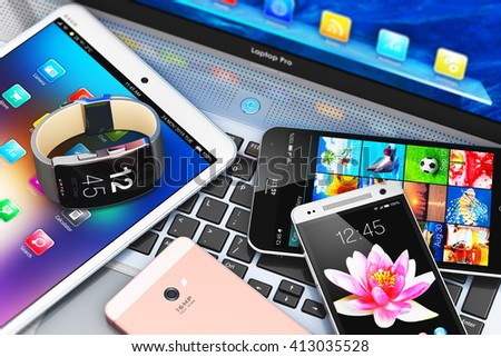 Internet communication technology web concept: 3D render illustration of mobile devices - smartphone or mobile phone, tablet computer PC, laptop or notebook and smartwatch, clock or fitness tracker - stock photo
