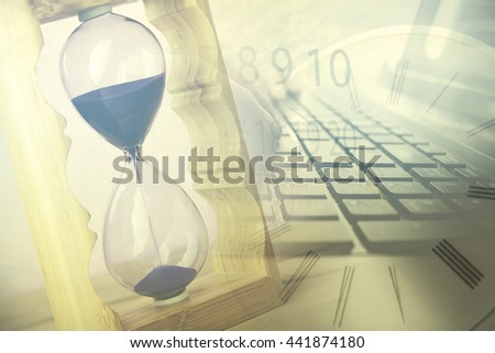 Internet computer network background with clock - stock photo