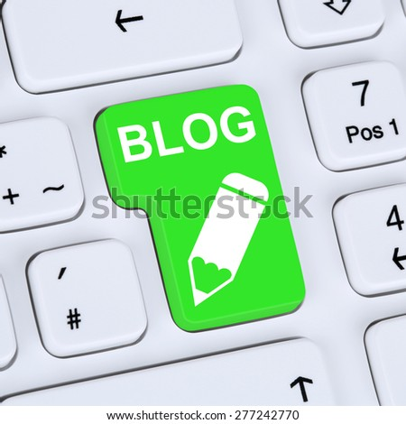 Internet concept Blog writing social media online on computer - stock photo