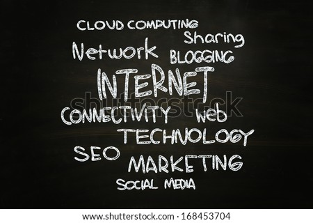 Internet Concept Cloud Words, written with Chalk on Blackboard