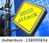 Internet Concept. DDOS Attack Roadsign on Blue Background. - stock photo