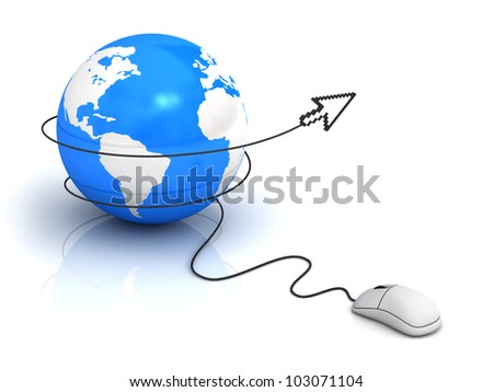 Internet concept, Earth globe and computer mouse with arrow cursor on white background - stock photo