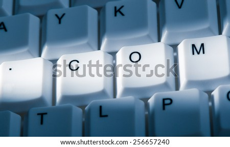 internet concept image on computer keyboard with lightray - stock photo