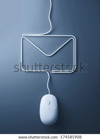 Internet concept. Mouse and cables in form of mail - stock photo