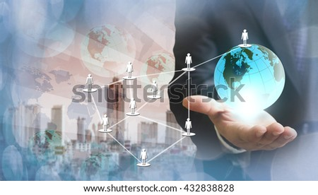 Internet Concept of global business - stock photo