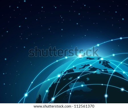 Internet Concept of global business in space - stock photo