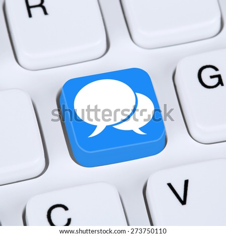 Internet concept social media or network networking online friendship on computer keyboard concept - stock photo