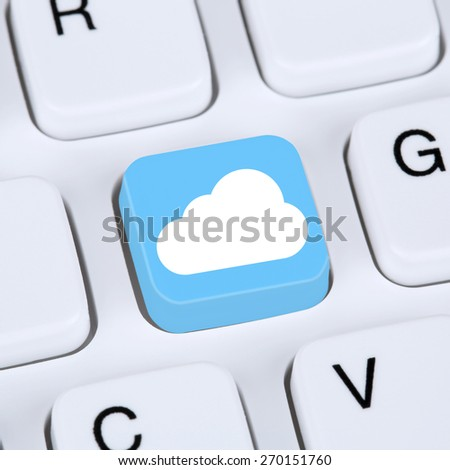 Internet concept symbol cloud computing online in cyberspace computer keyboard - stock photo