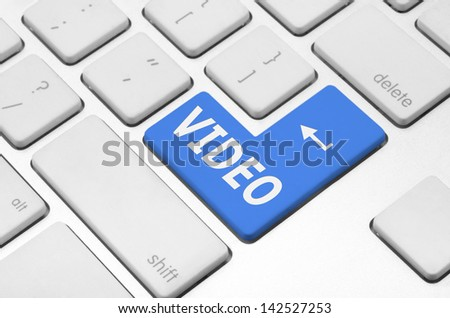 Internet concept: Video key on the computer keyboard