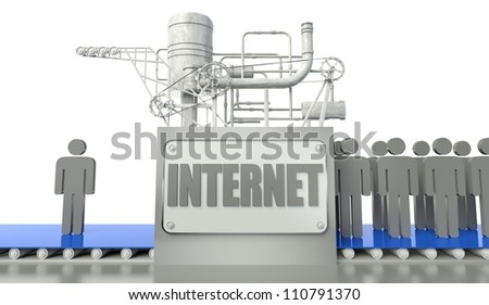Internet concept with one man and group of people
