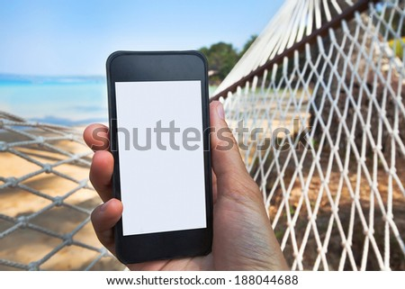 internet connection on the beach - stock photo