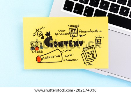 Internet content marketing sketch on blue background over notebook. - stock photo