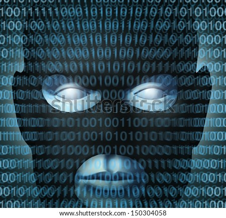 Internet crime technology security concept with digital binary code over a burglar icon as a symbol of high tech criminal activity affecting the safety or protection of computer networks server data. - stock photo