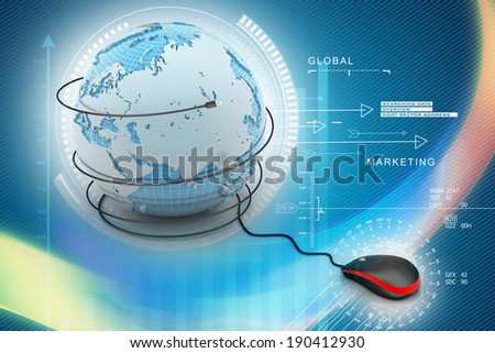 internet 3d concept - computer mouse with globe - stock photo