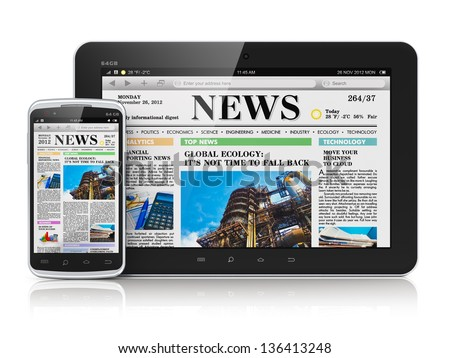 Internet digital web media and business office communication concept: tablet PC computer and touchscreen smartphone with business web news media isolated on white background with reflection effect - stock photo