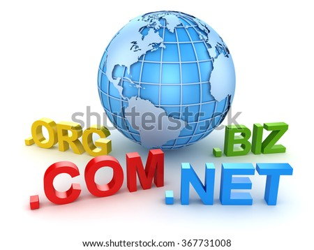Internet domain and blue world map , This is a 3d computer generated image. Isolated on white. - stock photo