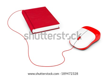 Internet education. Book and computer mouse on a white background - stock photo