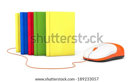 Internet education. Books and computer mouse on a white background