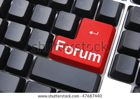 internet forum concept with key on computer keyboard