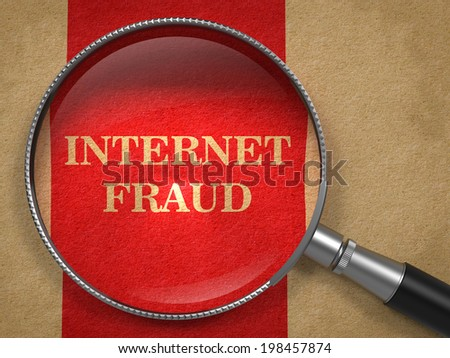 Internet Fraud. Magnifying Glass on Old Paper with Red Vertical Line. - stock photo