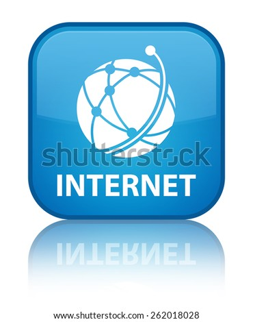 Internet (global network icon) cyan blue square button - stock photo