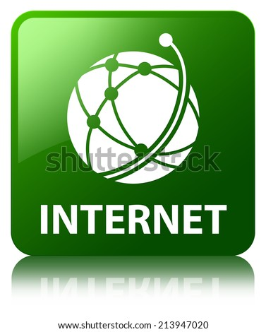 Internet (global network icon) glossy green reflected square but - stock photo