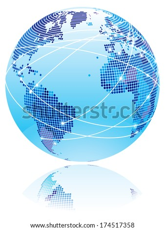 Internet globe. Globe with internet connection lines between world countries. - stock photo