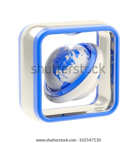 Internet glossy icon as application emblem isolated on white