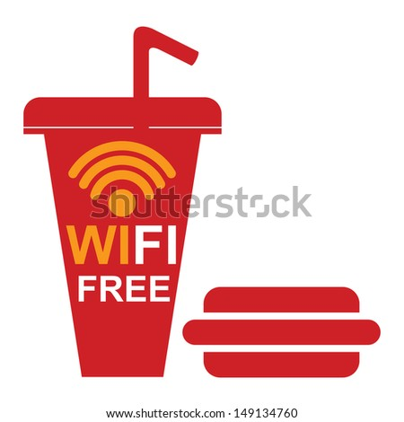 Internet Hotspot, Internet Cafe or Technology Concept Present By Red Fastfood Sign With Wifi Free Sign Inside Isolated on White Background  - stock photo