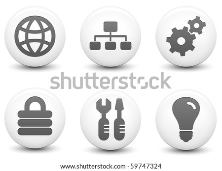 Internet Icons on Round Black and White Button Collection Original Illustration - stock photo