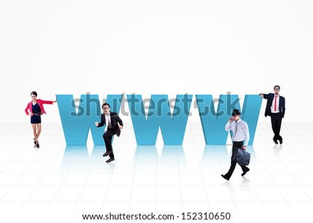 Internet logo (www) surround with business people isolated on white - stock photo