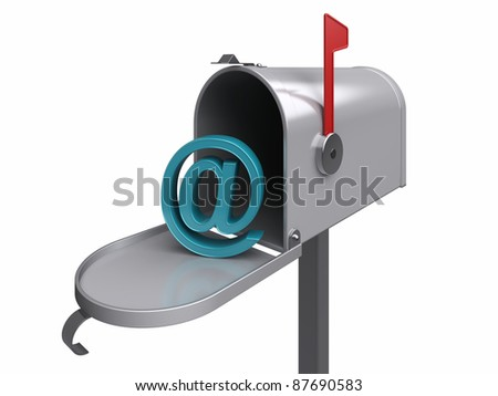 Internet mailbox, isolated. 3d rendered image - stock photo