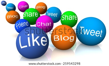 internet marketing, like blog tweet chat share, spheres - stock photo