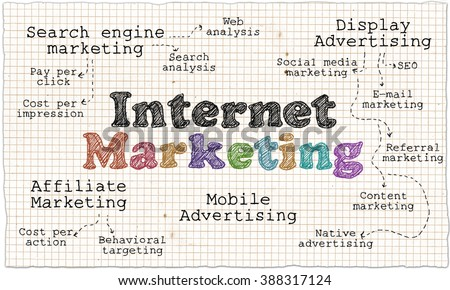 Internet Marketing on White Paper with Squares - stock photo