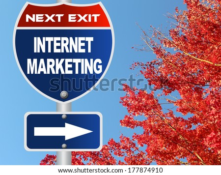Internet marketing road sign - stock photo