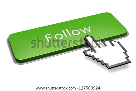 Internet media concept: green follow button and pixelated hand cursor isolated on white. 3d illustration.