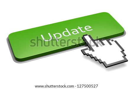 Internet media concept: green update button and pixelated hand cursor isolated on white. 3d illustration.